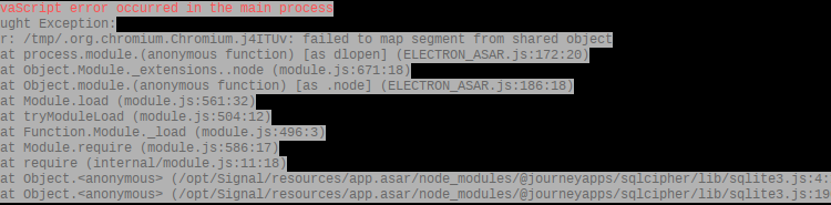 Signal Desktop and Failed to Map Segment from Shared Object Error