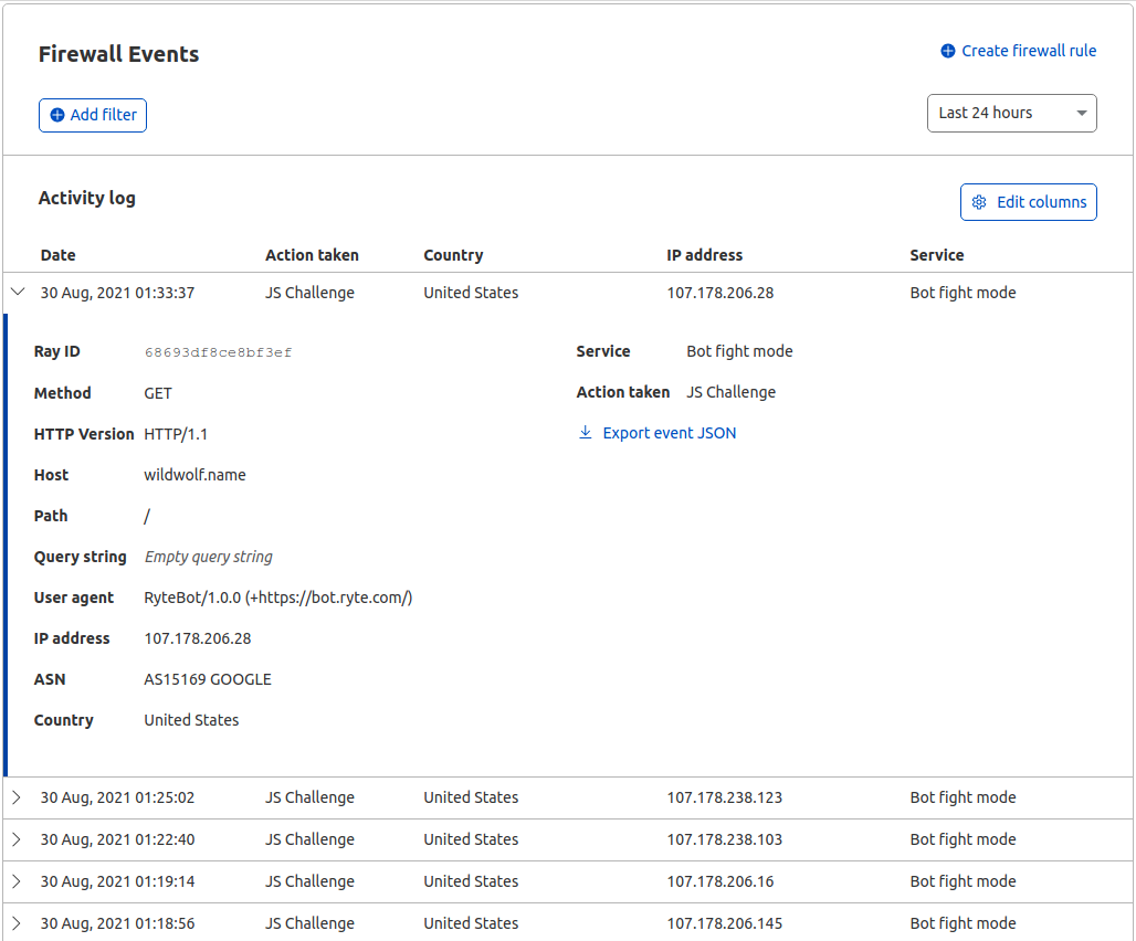 Firewall Events in Cloudflare